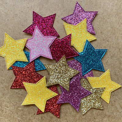 16pcs Glitter Star Appliques Baby Polyester Craft Hobby Embellishment #1183