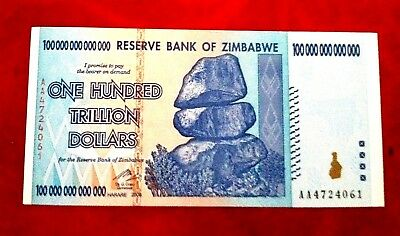 Zimbabwe $100 Trillion Dollar Unc Banknote Real Note 2008 Aa Series 3 Left