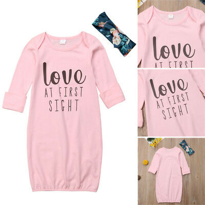 5fdd4c260 NEWBORN BABY GIRL Night Robe Gown + Headband Cotton Bodysuit Outfits ...
