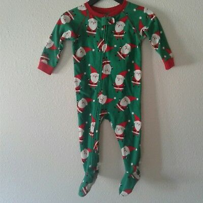 Just One You Carter's 18M 18 Months Green Christmas Santa Zip Footie Pajamas PJs