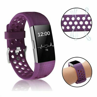 For Fitbit Charge 2 Replacement Silicone Wristband Strap Watch Band Purple Small