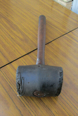 Old Vintage Heavy Rubber Mallet.  Solid Wooden Handle.  Old Tools