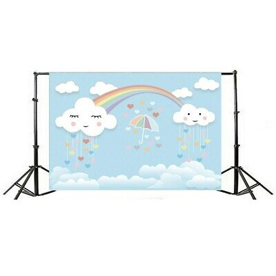[NEW] 7x5ft Rainbow Smile Clouds Thin Vinyl Photography Backdrop Background Stud