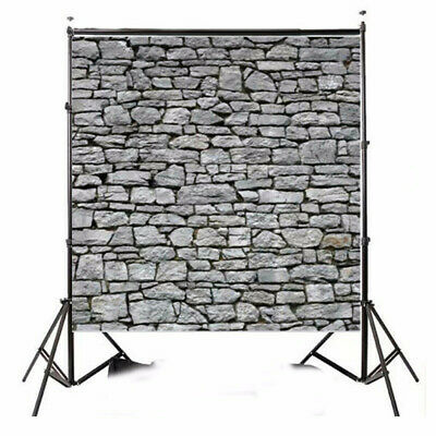 [NEW] 8x8ft Light Gray Stone Wall Photography Backdrop Studio Prop Background
