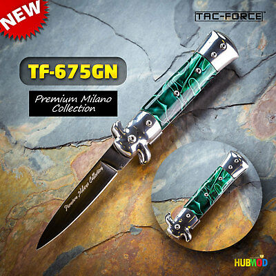 TAC-FORCE Spring Assisted Folding Pocket Knife Milano Stiletto Tactical Green