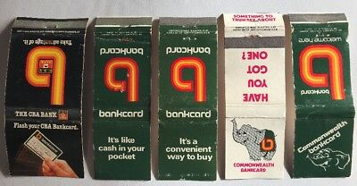 5 Matchbooks Match Covers Boxes Commonwealth Bank Bankcard CBA