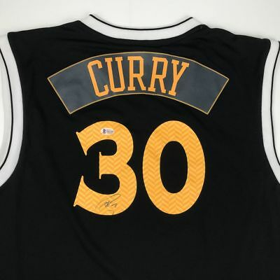 6dbb0c6dbc6 Autographed Signed STEPHEN CURRY Golden State Black Jersey Beckett BAS COA