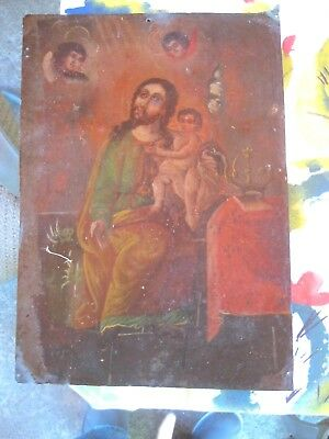 Original Antique Retablo On Tin Of Saint Joseph With Baby Jesus On His Lap