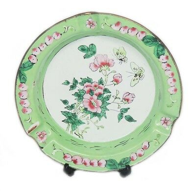 Antique Chinese Republic Period Cloisonne Floral Fruit Butterfly Design Plate