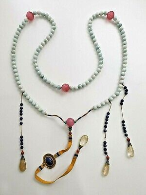 Antique Chinese China Qing Court Necklace Jade Peking Glass Lapiz Lazuli 19Th C