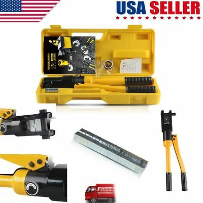 2018 New Hydraulic Wire Terminal Crimper Battery Cable Lug Crimping Tool w/Dies