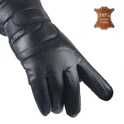 Mens Soft Real Leather Gloves Outdoor Sport Weight Lifting Ski Windbreak Gloves