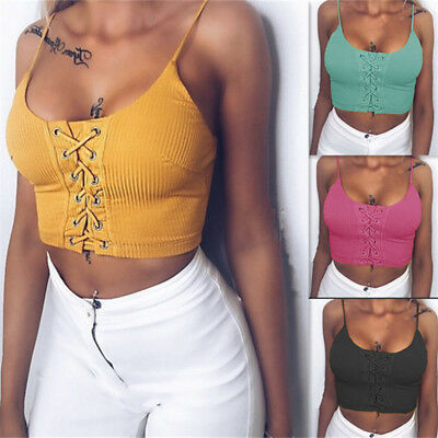 Sexy Women Bandage Sleeveless Lace Up Tie Tank Tops Vest Crop Top Cami Blouse N7