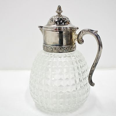 Beautiful Italian Vintage Crystal Glass Decanter With Silver Colour Top  #458