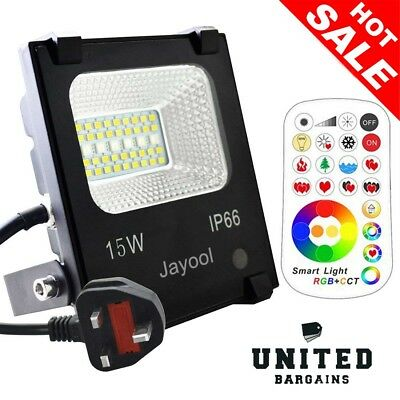 Jayool LED Floodlight Outdoor,15W Colour Changing Flood Lights with Remote, RGB