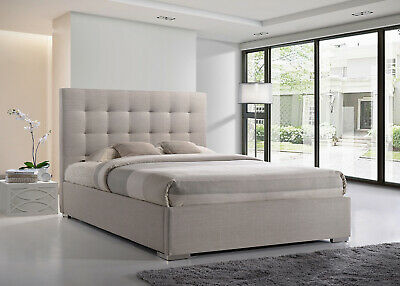 Grey & Sand Fabric Upholstered Bed Frame 4FT6 Double 5FT King Size
