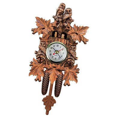 Retro Vintage Style Wall Clock Hanging Handcraft Wooden Cuckoo Clock N