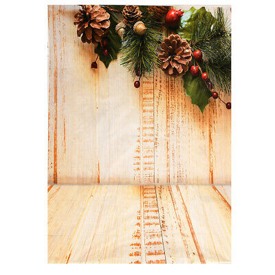 [NEW] 7x5ft Wooden Floor Pinecone Christmas Photography Background Photo Props S