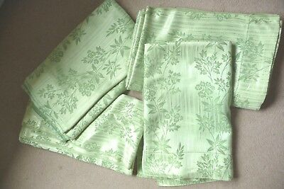 """Vintage 1940's/50's lime green silky Damask unlined curtains 74""""drop x 68""""wide"""
