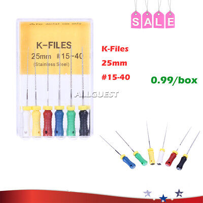 Dental Root Canal K-Files 25mm 15#-40# AZDENT Hand Use Stainless Steel 6pcs