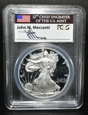 2013 W Proof Silver Eagle Pcgs Pr69 Dcam Flag Mercanti First Strike Label C9196