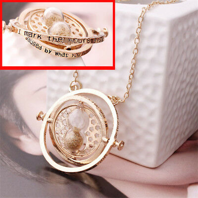 Harry Potter Time Turner Necklace hour Hourglass 18K Gold Plated Stainless Steel