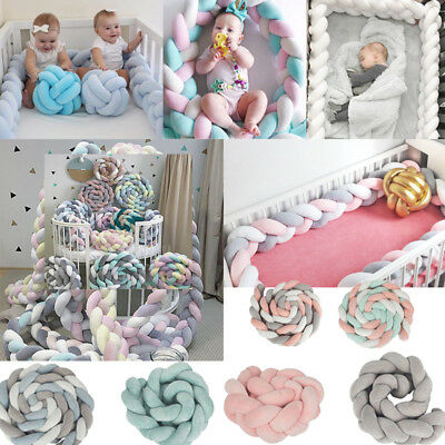 Baby Infant Plush Crib Bumper Bed Bedding Cot Braid Pillow Pad Protector 1/2/3M
