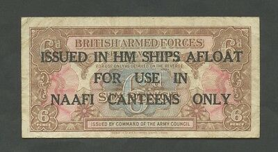 BRITISH ARMED FORCES 6d NAAFI 1st series Fine Banknotes