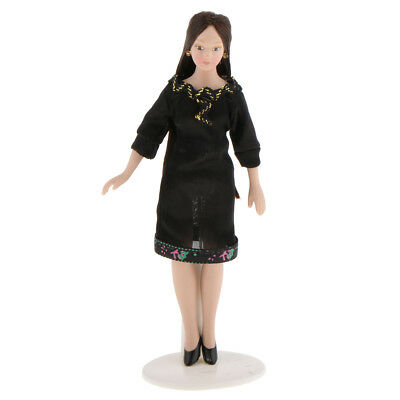 1/12 Dollhouse Miniature People Figures Doll Career Woman in Black Dress