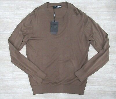 d99ae5f48a044 Neuf Dolce   Gabbana Homme Coton Col Rond Pull en Marron Taille  52 It,