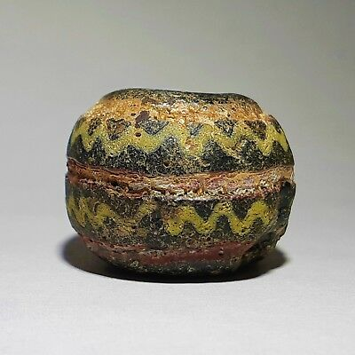 Ancient Polychrome Festoon-shaped Glass Bead