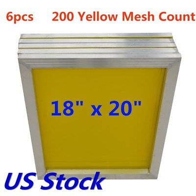 "6pcs 18"" x 20"" Aluminum Frame Silk Screen Printing Screens 200 Mesh US Stock"