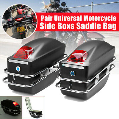 Universal Motorcycle Side Box Pannier Luggage Tank Saddle Bag Cruiser With Rail