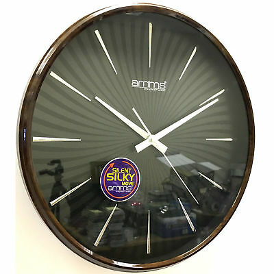 Wall Clock Clear Black Face Silver Outer Case Silent Movement Gd266042