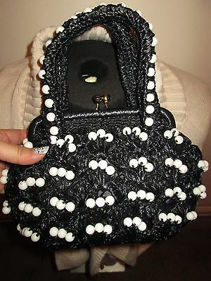 1960's Vintage Straw Black & White Beads Made in Japan Hand bag Purse