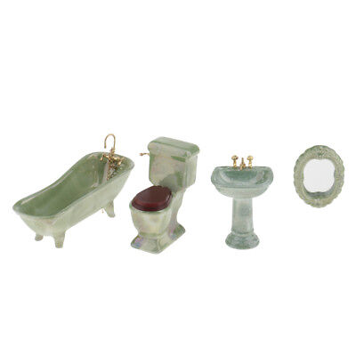4pcs 1/12 Dollhouse Miniature Furniture Ceramic Porcelain Bathroom Set Green