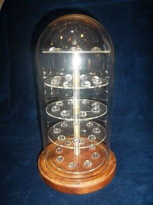 Glass Dome  Thimble Display - Holds  38 - Wood Base Turns Large