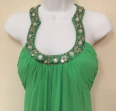 ADRIANNA PAPELL Retro Mod Long Evening Gown Beaded Chiffon Cruise 5/6 S