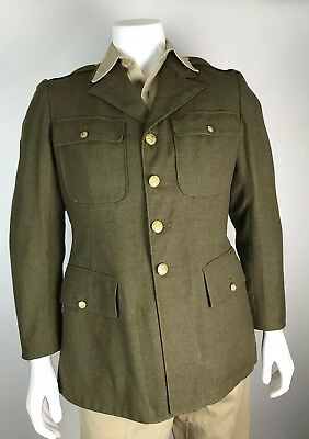Vintage WW2 US Army Military Dress Brass Buttons Uniform Coat Jacket Size 40