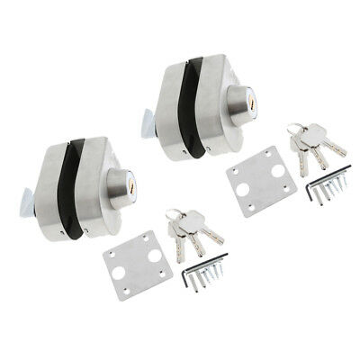 2x Stainless Steel Antitheft Security Glass Door Lock for 10-12mm Thickness