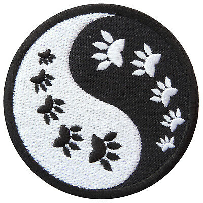 Cat Kitten Dog Yin Yang Tao Taoism China Aum Animal Foot Iron-On Patches #AU053