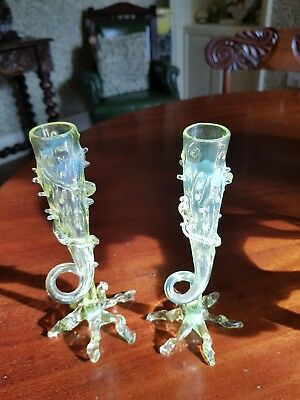 Antique Pair Of English Uranium Vaseline Glass Vases By John Walsh 1890's - Rare