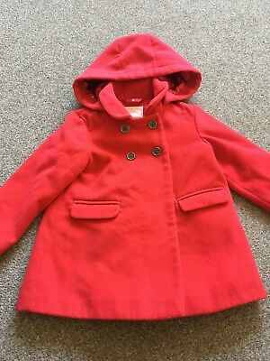 Gorgeous Girls Red Double Breasted Coat With Hood  2-3 Years From Next