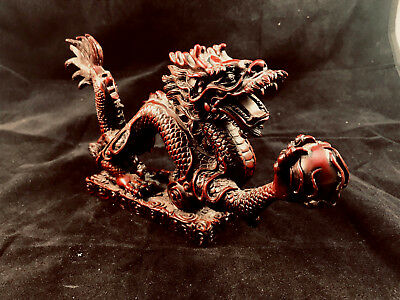 Vintage Chinese Dragon Red Enameled Cast Resin Sculpture Figure Asian Statue 9x5