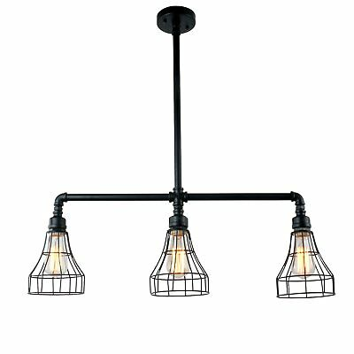 UNITARY BRAND Black Vintage Barn Metal Cage Shade Hanging Ceiling Pendant Light