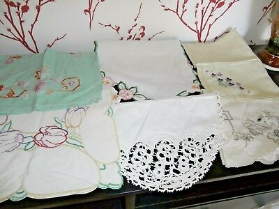JOB LOT of VINTAGE TABLE MATS & TRAY CLOTHS ~ HAND EMBROIDERY & LACE DESIGNS