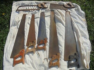 Job lot of antique/vintage hand saws x 7