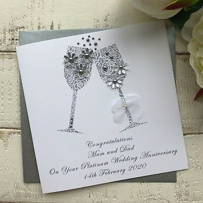 Handmade Personalised 70th Platinum Wedding Anniversary Card Mum Dad Grandad Nan