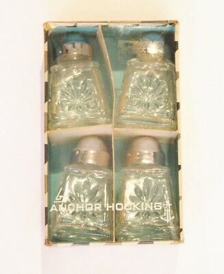 2 Sets Vintage Anchor Hocking Salt & Peppers Shakers NIB Cut Glass Small
