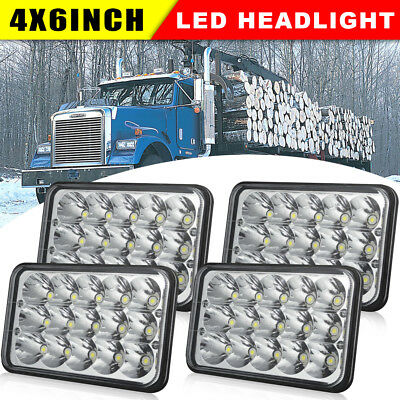 """2Pairs 4x6"""" Sealed Beam LED Headlights For Ford Chevrolet Kenworth Peterbilt"""